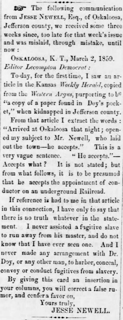 Jesse Newell letter Kansas_National_Democrat_Thu__Mar_24__1859_