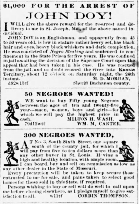 John Doy Reward, Negro Advertisements The_Weekly_West_Sun__Aug_14__1859_